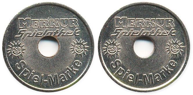 биметаллический жетон Merkur spielothek