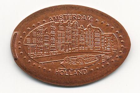 давленная монета каналы Амстердама