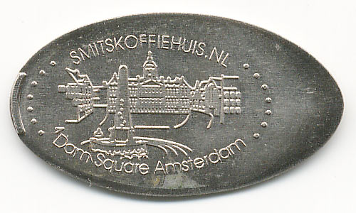 elongated coin Dam Square Amsterdam