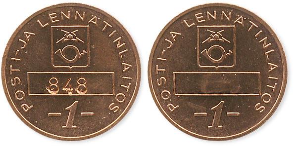 телефонный жетон Финляндии 1 марка