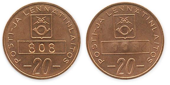 телефонный жетон Финляндии 20 пенни