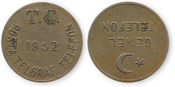 турецкий таксофонный жетон