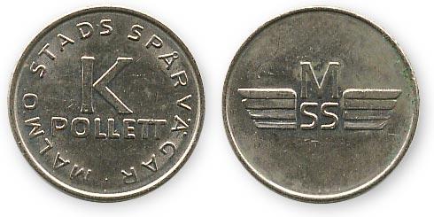 трамвайный жетон Мальмо